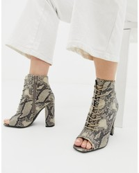 New Look Lace Up Block Heeled Sandal In Snake Pattern Pattern