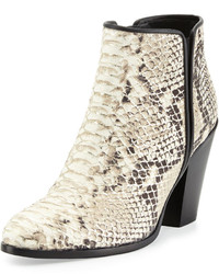 Silver tipped python embossed leather bootie platino medium 165181