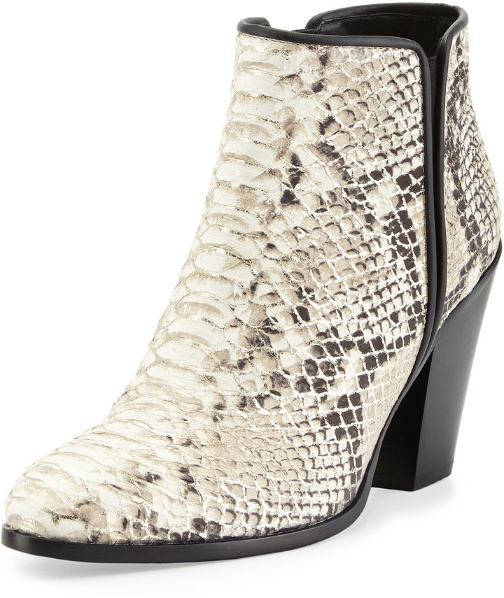 ... Boots Giuseppe Zanotti Silver Tipped Python Embossed Leather Bootie  Platino ... 60dd5e982305