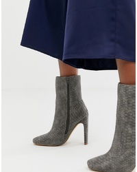 Missguided Square Toe High Heeled Ankle Boot In Grey Snake