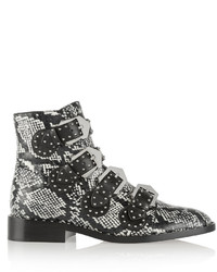 Givenchy Studded Ankle Boots In Elaphe And Leather Snake Print