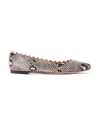 Chloé Lauren Scalloped Snake Effect Leather Ballet Flats