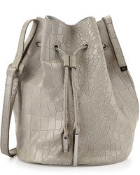 Halston Heritage City Casual Croc Embossed Bucket Bag Heather Gray