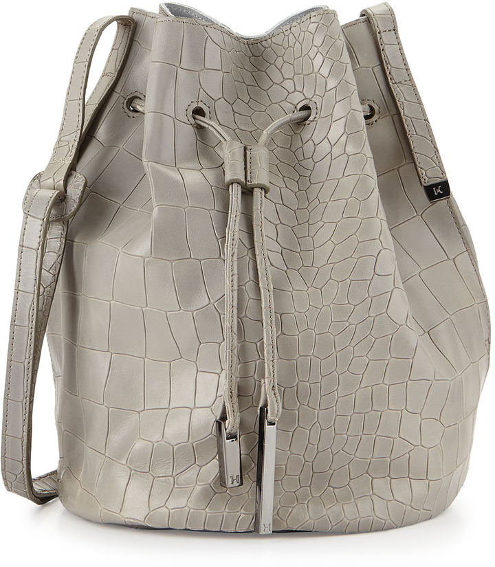 a36af31a2bf7 ... Leather Bucket Bags Halston Heritage City Casual Croc Embossed Bucket  Bag Heather Gray ...