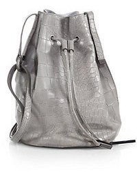 Halston Heritage Crocodile Embossed Bucket Bag