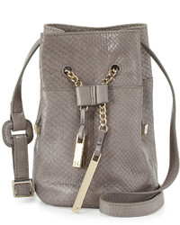Halston Heritage Snake Embossed Leather Mini Bucket Bag Dark Gravel