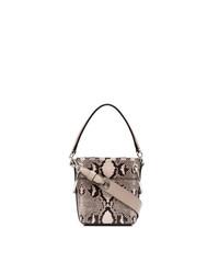 Nude and brown roy mini snake print leather bucket bag medium 8763319