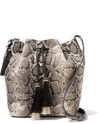 Loeffler Randall Tasseled Python Effect Leather Bucket Bag Snake Print