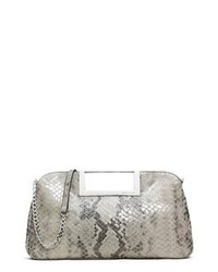 Grey Snake Leather Clutch