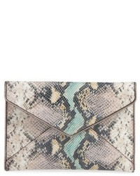Rebecca Minkoff Leo Snake Embossed Leather Clutch Grey