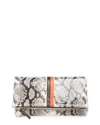 Clare V. Python Embossed Leather Foldover Clutch