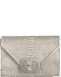 Marchesa Valentina Python Envelope Clutch Bag Silver