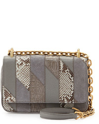 Prada Small Patchwork Chain Crossbody Bag Gray