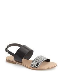 Grey Snake Leather Flat Sandals