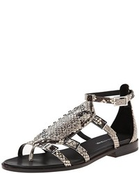 Grey Snake Leather Gladiator Sandals