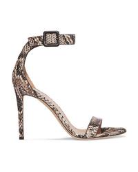 Giuseppe Zanotti Snake Effect Leather Sandals