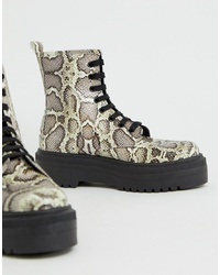 ASOS DESIGN Attitude Chunky Lace Up Boots In Snake