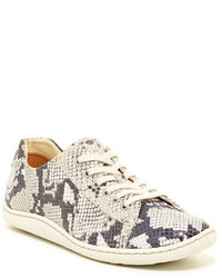 Grey Snake Leather Low Top Sneakers