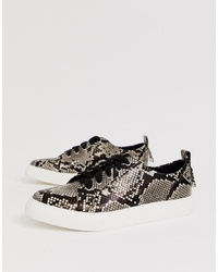 ASOS DESIGN Durban Pointed Lace Up Trainers In Snake Print