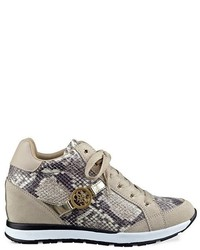 GUESS Lanelan Python Print Wedge Sneakers