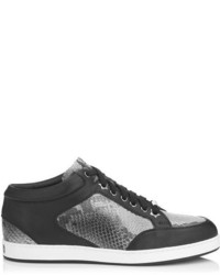 Jimmy Choo Miami Musk Snake Print Leather And Black Leather Low Top Trainers
