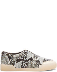 3.1 Phillip Lim Morgan Python Print Low Top Leather Sneakers
