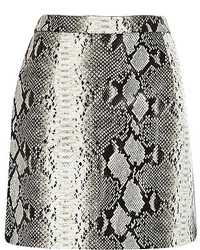 Grey Snake Leather Mini Skirt