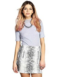Boohoo lily python print zip detail pelmet mini skirt medium 161494