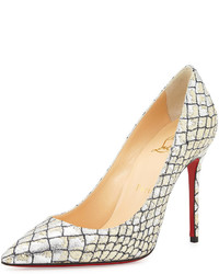 Christian Louboutin Decollete Snake Embossed Metallic Point Toe Pump Silver
