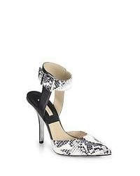 Michael Kors Michl Kors Alanna Snakeskin Leather Ankle Strap Pumps Natural