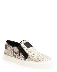 Grey Snake Leather Slip-on Sneakers