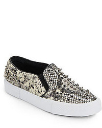 Studded Snake Print Faux Leather Slip On Sneakers