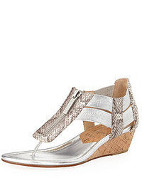 Grey Snake Leather Thong Sandals