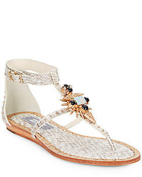 Babel crystal embellished snake embossed leather thong sandals medium 310426