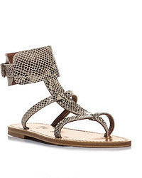 K. Jacques Snake Textured Leather Sandals