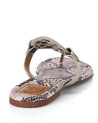 54bd3f9144aa ... Tory Burch Miller Snake Print Suede Thong Sandals