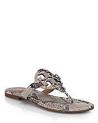 Tory Burch Miller Snake Print Suede Thong Sandals