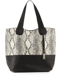 Grey Snake Leather Tote Bag