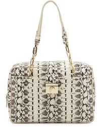 Versace Collection Chain Handle Snake Embossed Leather Shoulder Bag Nerosabbi