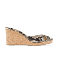 Jimmy Choo Almer 80 Snake Effect Leather Wedge Sandals
