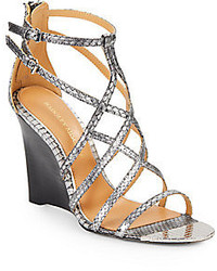 Mora snake embossed leather wedge sandals medium 241929