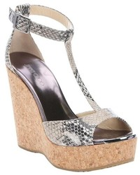 Jimmy Choo Natural Snake Print Leather Pela Cork Wedge Sandals