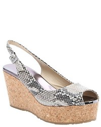 Jimmy Choo Natural Snake Printed Leather Praise Wedge Sandals