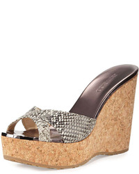 Jimmy Choo Perfume Snake Print Wedge Sandal Natural