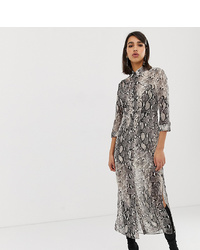 River Island Longline Shirt Dress In Snake Print