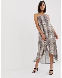 ASOS DESIGN Satin Bandeau Maxi Dress In Snake Print