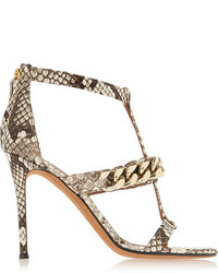 Givenchy Python Sandals With Gold Chain Gray