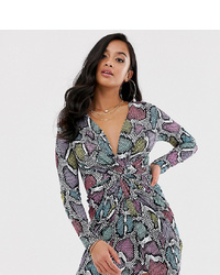 Flounce London Petite Twist Front Mini Dress In Multi Snake