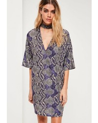Grey snake print choker neck shift dress medium 3647338