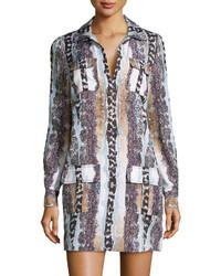 Diane von Furstenberg Long Sleeve Snake Print Shirtdress Oasis Snake Multi